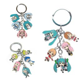 Wholesale Anime Figure Hatsune Miku - Anime Hatsune Miku SNOW MIKU Metal Figure Pendants Keychain 5 small doll pendants with Key Ring Christmas Gifts
