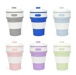 Wholesale Retractable Portable Cup - 6 Colors Silicone Retractable Folded Cup Coffee Cup Portable Outdoor Travel Telescopic Collapsible Soft Drinking Cup Water Bottles