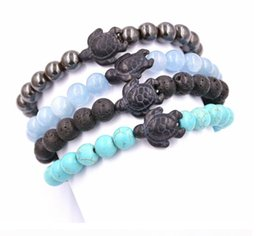 Wholesale Wholesale Tortoise Bangles - free shipping newest design natural stone beads bracelet popular lava beaded bracelet tortoise yoga bracelets bangle for men women