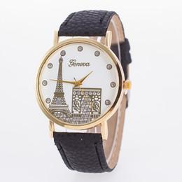 Wholesale Women Leather Watch Eiffel Tower - 2017 Arrival geneva women ladies fashion leather PU watch with Eiffel Tower House Dial Wrist quartz watches for women 100pcs