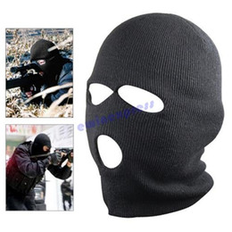 Wholesale Fish Beanies - Black swat Balaclava Full Ski Mask Three 3 Hole Balaclava Knit Hat Winter Snow Beanie Stretch Cap Free Shipping