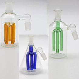 Wholesale Top Cheap Pipes - Top Fashion Cheap Green Glass Filter Cup Pipes 14mm 18mm Ash Catcher 5 Percolato Glass Ashcatcher for Glass Bong Water Pipes Real Images
