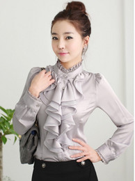 Wholesale Lace Collared Long Sleeve Blouse - 2016 spring new long-sleeved blouse career lace flounced silk shirt S--2XL