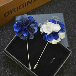 Wholesale Wholesale Flower Pins - Price Cheap Luxury Flower Brooch lapel Pins Handmade Boutonniere Stick with assorted color flowers for Gentleman suit wear Men Accessories
