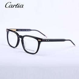 Wholesale Black Glass Eyes - Men Women Optical acetate prescription spectacle Square Thom tb402 TB-402 Myopia Eye glasses Frame Eyeglasses Frame 53mmwith original case