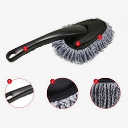 Spazzola di detersione online-MINI WAX Spazzola Cute Multi-funzionale Car Duster Pulizia Dirt Dust Clean Care Spazzole Dusting Tool Mop Grigio per WAX PC Keyboard