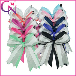 Wholesale Alligator Hair Clip Silver - Boutique 20 pcs lot 6 inch Solid Ribbon Cheer Bow Silver Organza Girl Baby Three Layers Cheerleading Bows With Alligator Clip