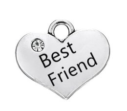 antique floating charms wholesale UK - Antique Silver Plated Special Sister & Best Friend Crystal Heart Small Charms Fit for Floating Bracelets Wholesale Bulk Lots