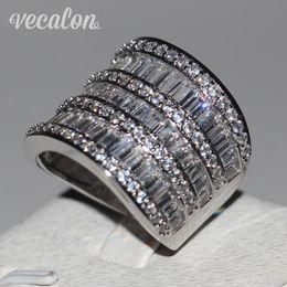 2019 anéis de diamante grande Vecalon Big anel Mulheres Jóias Cheia princesa corte Simulado diamante Cz 925 Sterling Silver anel de Noivado Banda de casamento para as mulheres anéis de diamante grande barato