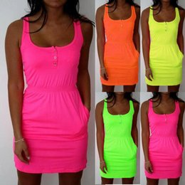 Wholesale Low Cut Tanks Xl - Hot Women casual Dresses Summer 2016 Candy fluorescence Color Low Cut Buttons Pleated Waist cotton Tank Dress Causal Sport Dress
