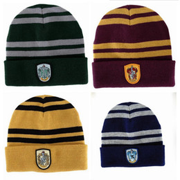 Wholesale Red Striped Beanie - Harry Potter Beanie Ravenclaw Gryffindor Skull Caps Slytherin Hufflepuff Knit Hats Cosplay Costume Caps School Striped Badge Hats Gift B1103