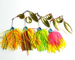 Wholesale Walleye Jigs - HENGJIA 4Colors Spinnerbait Fishing Lure Bass Walleye 17G Metal Sequnins Skirts Jig Fishing Tackle Balance Of Fish