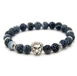 Wholesale Agate Bead Bracelets - New Design 1PCS 8mm Weathering Agate Stone Beads Gold Silver Plated Lion Owl Helmet Best Gift Bracelets