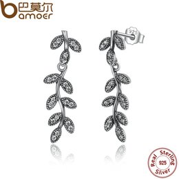 Wholesale Sterling Branch - 925 Sterling Silver Sparkling Leaves & Branches Earrings with Clear CZ Women Drop Earrings Compatible With Pan Jewelry PAS466