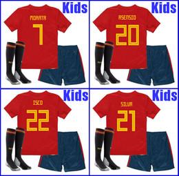 Tayland camisa birleşik formalar ÇOCUKLAR İspanya futbol formaları 2018 dünya kupası futbol Kitleri üniforma çocuk çorap ile camisetas de futbol nereden