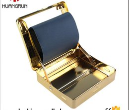 Wholesale Cigarette Rolling Machines Sale - new arrive golden Automatic Metal Cigarette Roller Tobacco Rolling Machine Cigarette Roller Box Case 70mm best quality hot sale