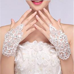 Wholesale Diamond White Gloves - Wholesale- Lace White Fingerless Short Paragraph Rhinestone Diamond Gloves