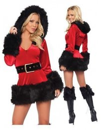 Wholesale Santa Sexy Outfits - High Quality Red Fur Trim Velvet Santa Costume Full Sleeve Sexy Hoodie Fancy Dress Theme Christmas Outfit