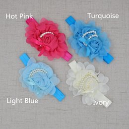 Wholesale Girls Rosette Hair - Chiffon Rosette Baby Girl Headband with Pearl Nylon Hair Accessories Newborn Photography Props 24pcs lot Hair Band QueenBaby