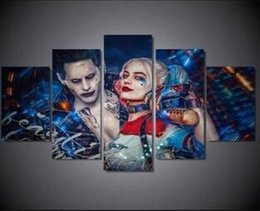 Wholesale Movie Poster Printing - 5 Panel Harley Quinn Joker Suicide Squad Canvas Wall Art Movie Poster (No Framed)