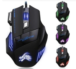 Wholesale fast optical - High Quality Professional Wired Gaming Mouse 7 Button 5500 DPI LED Optical USB Wired Computer Mouse Mice Cable Mouse DHL fast