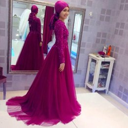 Wholesale Sequins Hijab - Prom Party Dresses 2016 Dubai Abaya Muslim Grape Lace Long Sleeve With Hijab High Neck Beaded Formal Evening Gowns