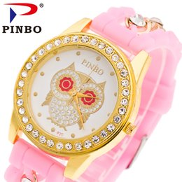 Wholesale Green Glass Owl - PINBO Owl Watch Classic Silicone Women Watch Golden Geneva Style Wristwatch Silicon Rubber Casual Dress Girl Fashion Watches