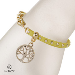 Wholesale Gold Filled Materials - 2017 hotselling yellow wristbands I SHOW brand designer gold plated link chian velvet material life tree charm bracelets handmade jewelry