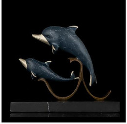 Wholesale Dolphin Ornament - Vintage CRAFTS ARTS ATLIE BRONZES Christmas Love Gift Double Dolphin Statues Bronze Figurine Animal Estatua Sculpture Home Decor