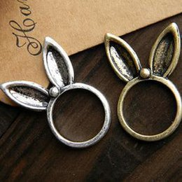 Wholesale Super Cute Bunny - Vintage retro texture super cute bunny ears ring long Korean jewelry wholesale European and American men and women s 0065