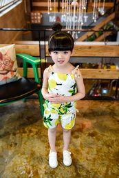 Wholesale Korean Brand Clothing For Kids - 2016 Popular Girls Lemon 2PCS Clothing Sets Baby Girls Korean Fruits Set Halter Tops+Short Pants Age For 2-7T Kids