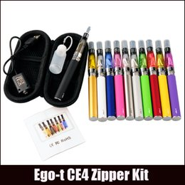 Wholesale Clearomizer Set - eGo-T CE4 Starter Kit E Cigarette 650 900 1100mAh eGo t battery 1.6ml CE4 Clearomizer E Cig Set Zipper Case Kit 12 Colors IN STOCK