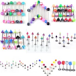 Wholesale Spiked Tongue Piercing - Mix Styles Surgical Steel Tongue Piercing Ball Spike Bar Barbell Body Piercing Jewelry 17G 19G Tongue Ring Stud 30 Pieces