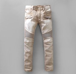 Wholesale America Mid - Men Jeans motorcycle models Europe and America to do the old khaki stone BIKER JEANS Washed Slim jeans feet casual fashion jeans