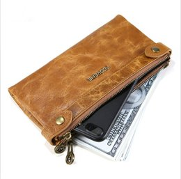 Wholesale Hand Wallet For Mobile - For Iphone 7 Plus Retro Leather hand Wallet cases business leather mobile phone bag large capacity for iPhone 7 plus Mobile Wallet DHL Free