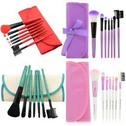 Wholesale red makeup brushes - Professional Makeup Brushes Make Up Brush Set Kits Eyelash Brush Blush Brush Eye-shadow Brush Sponge Sumudger 7pieces Make Up Tools