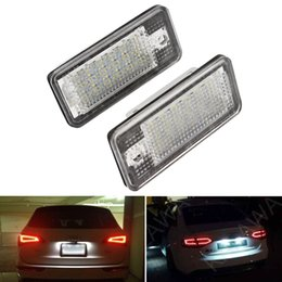 Wholesale Led Light For A6 - 2piece White 6500K 18 LED 3528 SMD License Plate Lights Lamps Bulbs for AUDI A3 8P A6 4F