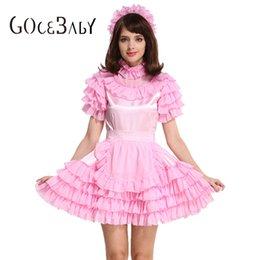 Custom Made Принудительная Сисси Девушка Горничная Запираемый Розовый Атлас Органза Пышное Платье Равномерное Косплей Костюм Crossdress от