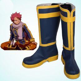 Женская обувь онлайн-Новое прибытие эксклюзивные аниме COS Fairy Tail Natsu Dragneel Salamander косплей обувь сапоги аксессуары настроить ручной работы