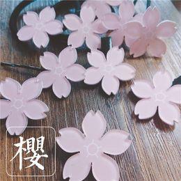 Wholesale Cherry Blossom Hair - Wholesale Japan Acrylic Cherry Blossom Women Pink Flower Hair Clips Hair Accessories Fashion Christmas Girl Hair Barrettes Hair Jewelry 69
