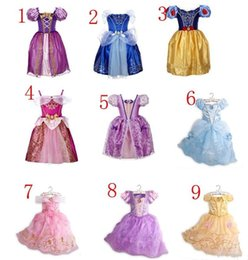Wholesale Childrens Costumes Wholesale - 9color Beauty beast belle Childrens Baby Girls Clothes Kids Toddler Birthday Costumes Short Sleeve Cinderella Girls Princess Party Dresses
