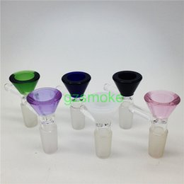Wholesale Funnel Bowl - Glass Bong Bowl piece Funnel with handle Thick pink green black slides 14mm bowls Smoking Accessory Water Pipe Bongs 18mm male heady slide