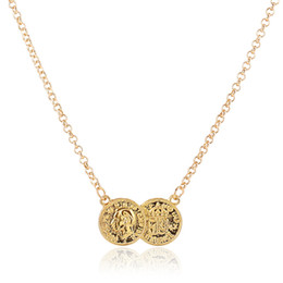 Wholesale Sweater Necklaces - Fashion vintage coin necklace gold silver plated link chain Head coin charm necklaces Sweater chain for women jewelry 160306
