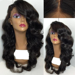 body wavy brazilian glueless lace wig Promo Codes - 8A brazilian glueless silk top full lace wigs wavy silk top lace front human hair wig with baby hair for black women