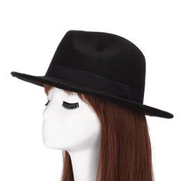 Wholesale Pink Trilby Hat - Wholesale-New Arrival Men Fedora Hats for Women Wide Brim Black Ribbon Hats Trilby Gangster Trendy Jazz Caps Chapeaux Pour Hommes 1MZ0652