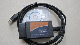 Wholesale Cable Obd2 Rs232 - elm327 rs232 com elm 327 usb plastic elm327 rs232 com obd2 the best quality free dhl obdii can bus