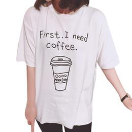 милые черные летние топы Скидка Wholesale- Summer Style 2017 New Cute Tee Cartoon Letter Coffee Printed Slim Short Sleeved T-shirt Korean Loose Black White Tops Camisa