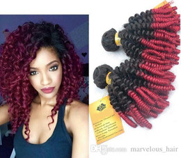 Wholesale Hair Extensions Afro Curls - Afro Kinky Curl Human hair Brazilian Virgin hair curly weave 1b burg bundles sexy hair Unprocessed Extension 1.3.4.5pic lot