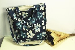 Wholesale Handbag Summer Folding - Summer Canvas Women Girls Beach Bag Fashion Flowers Printing Women's Handbags Shoulder Bag Casual Shopping Bags