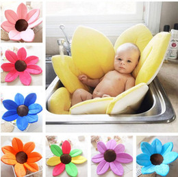 Wholesale Europe Tubes - Infant Baby Bath Mat 80cm Cute Flower Shape Blooming Super Soft Plush Lotus Bathing Tube Baby Care Accessories 12 Colors OOA2750